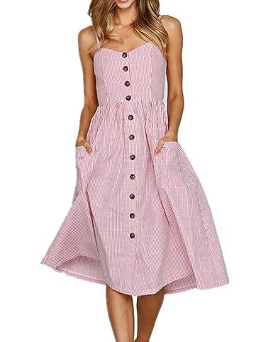 fb45da773b U-WARDROBE Spaghetti Strap Button Down Summer Dresses for Women Sunflower  Floral Bohemian Beach Swing Midi Dress with Pockets Pink-Thin Stripes S at  Amazon ...