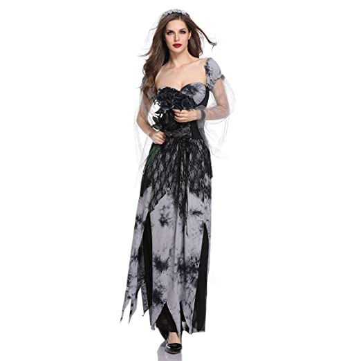 2612f188969 Amazon.com  Ytwysj Women s Halloween Costume Witch Vampire Costume Ghost  Bride Adult Party Fancy Cosplay Costume Long Maxi Dress  Clothing
