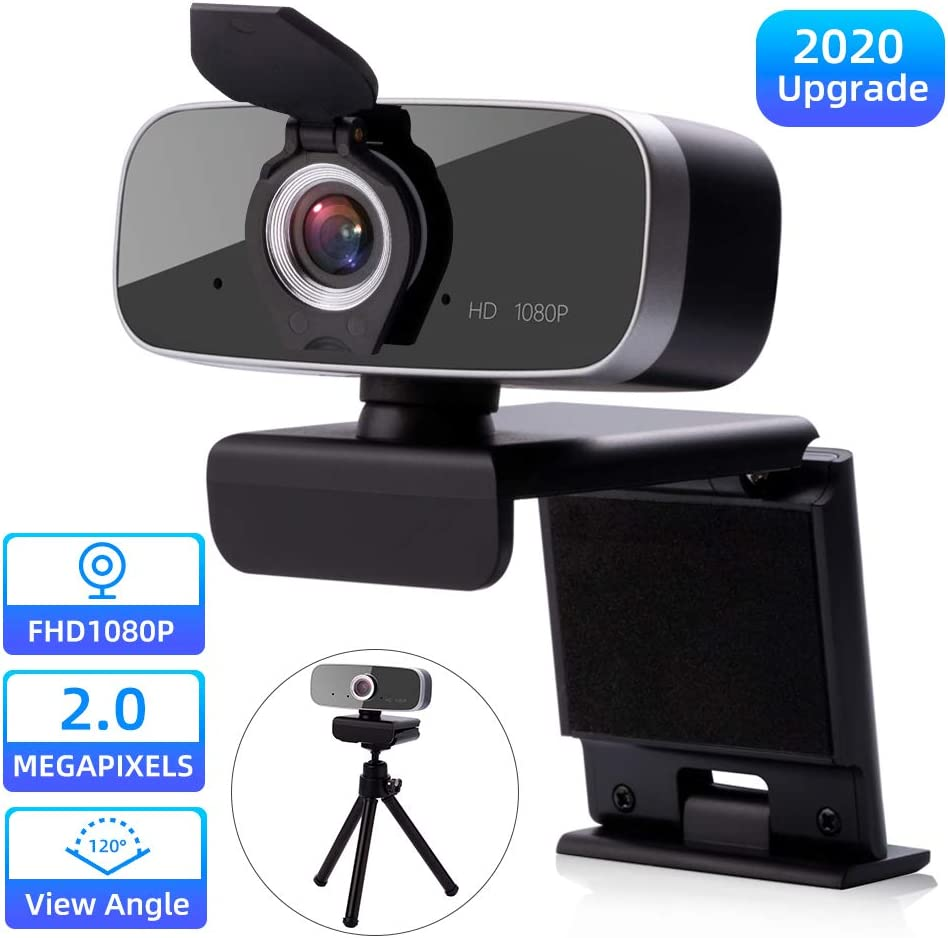 Webcam with Stereo Microphone, FHD 1080P Web Camera with Privacy Cover - USB Computer Webcam Desktop & Laptop - Plug & Play Streaming Webcam for Widescreen Video Calling and Recording, Tripod Included
