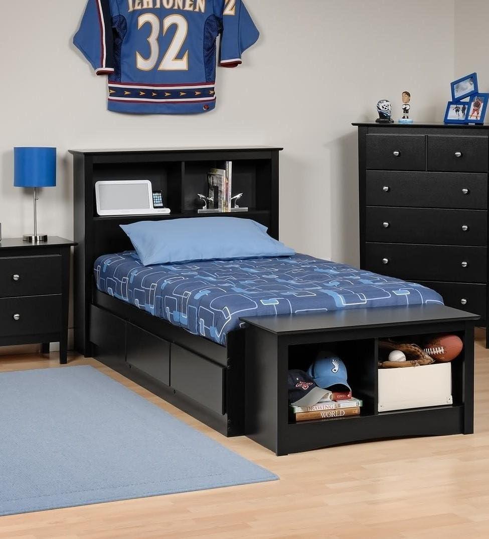 Prepac Sonoma Bookcase Platform Storage Bed with Headboard in Black-Twin – Twin