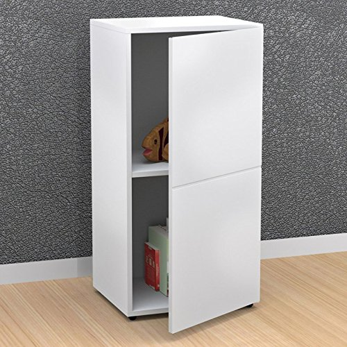 Bookshelves Scratch and Stain-Resistant 1 Drawer Storage Modern White Bookcase - 18W x 14.75D x 36H in. Assembly Required by Nexera