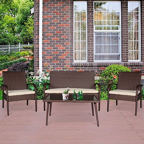 Cloud Mountain 4 PC Patio Rattan Furniture Set Wicker Rat...