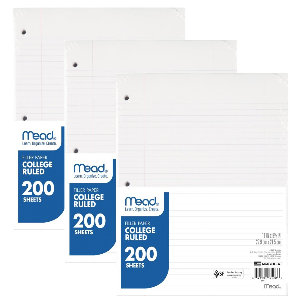 Mead Loose Leaf Paper, Filler Paper, College Ruled, 200 Sheets, 11'' x 8-1/2'', 3 Hole Punched, 3 Pack (73189)