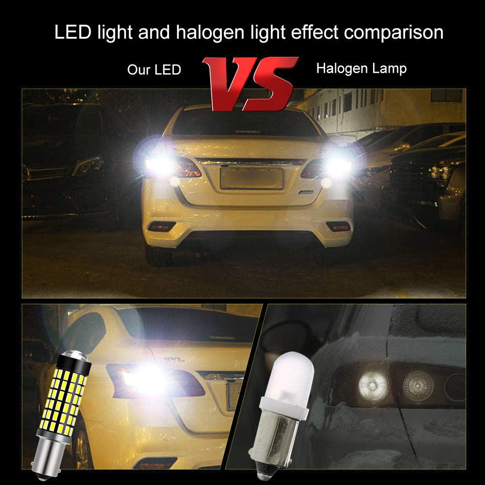 2-Pack Reverse Light and Turn Signal Light Interior Light 6500K,12-24V NATGIC BA9 BA9S 53 57 1895 64111 LED Bulbs Xenon White 1800LM 3014SMD 78-EX Chipsets with Lens Projector for Indicator Light