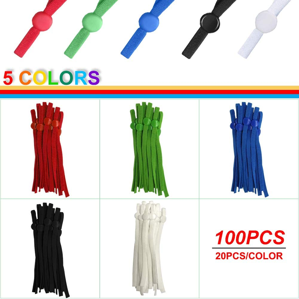 Elastic Cord Lock with Adjustable Buckle,5 Colors Anti-Slip Stretchy Earloop Lanyard Earmuff Rope Making Supplies Adjustable Stretch String for Sewing DIY. 100 Pieces 1//4 Sewing Elastic Band String