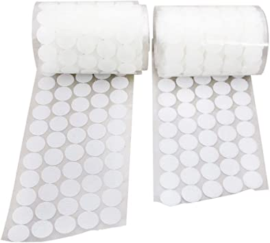 250 Pair Sets 20mm Diameter Sticky Back Coins Self Adhesive Dots Tapes White Compatible with Hook Loop Vkey 500pcs