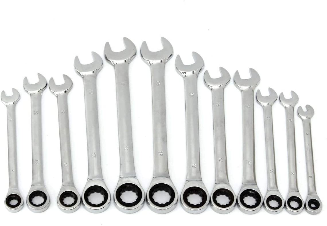 Size : 12mm 1 Piece no logo 1pc Ratcheting Combination Ratchetingwrench Spanner Hand Tool A Set of Key Torque Gear Socket Universal Tools