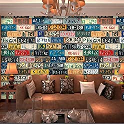 Sproud Custom Portrait Wallpaper 3D European And American Retro License Plate Wallpaper Coffee Shop Wallpaper Papel