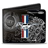 Buckle-Down Men's Wallet Mustang Tri-bar Stripe/gt Motor Blueprint Accessory, -Multi, One Size