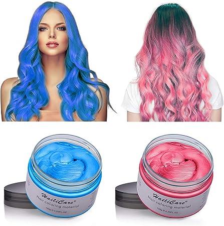 MS.DEAR [2x120g] Cera de color de cabelloCrema para Estilos Temporales Para Unisex Adultos - (Azul y Rosa Roja)