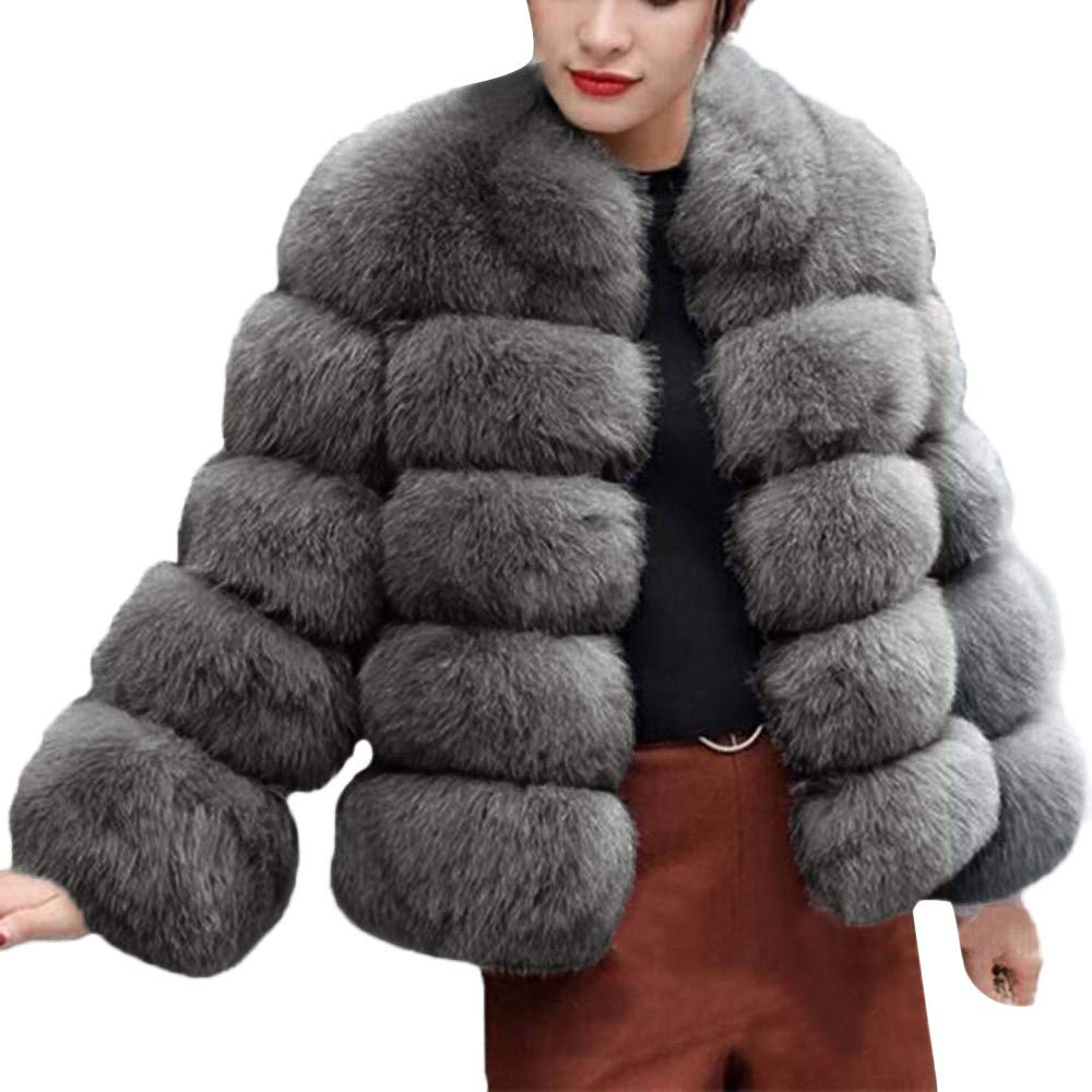 Funnygals - Womens Faux Fur Coat Parka Long Sleeve Winter Warm Jacket Overcoat Outwear Open Front Cardigan with Pockets Gray by Funnygals - Clothing