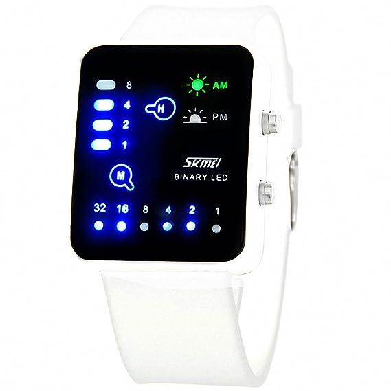 Skmei hombres Unisex deportes al aire libre Digital reloj PU correa de caucho binario LED noche luz multifunción + caja: SKMEI: Amazon.es: Relojes