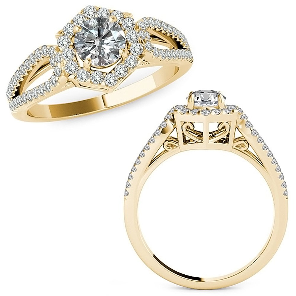 1.26 Carat G-H Diamond Classy Fancy Love Knot Halo Anniversary Couple Wedding Band Ring 14K Yellow Gold