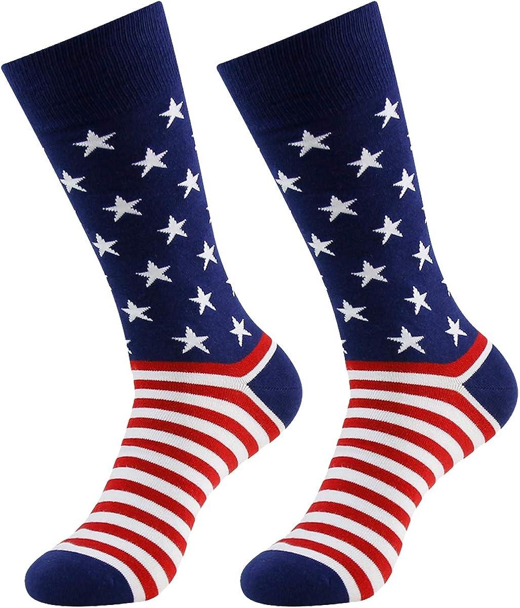 Blue Thin Line Flag Printed Crew Socks Warm Over Boots Stocking Stylish Warm Sports Socks