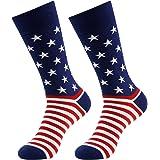 LANDUNCIAGA Men's American Flag Socks Patriotic Novelty Crew Socks Gift Fun Dress Sock 1/2/3/4/6 Pairs