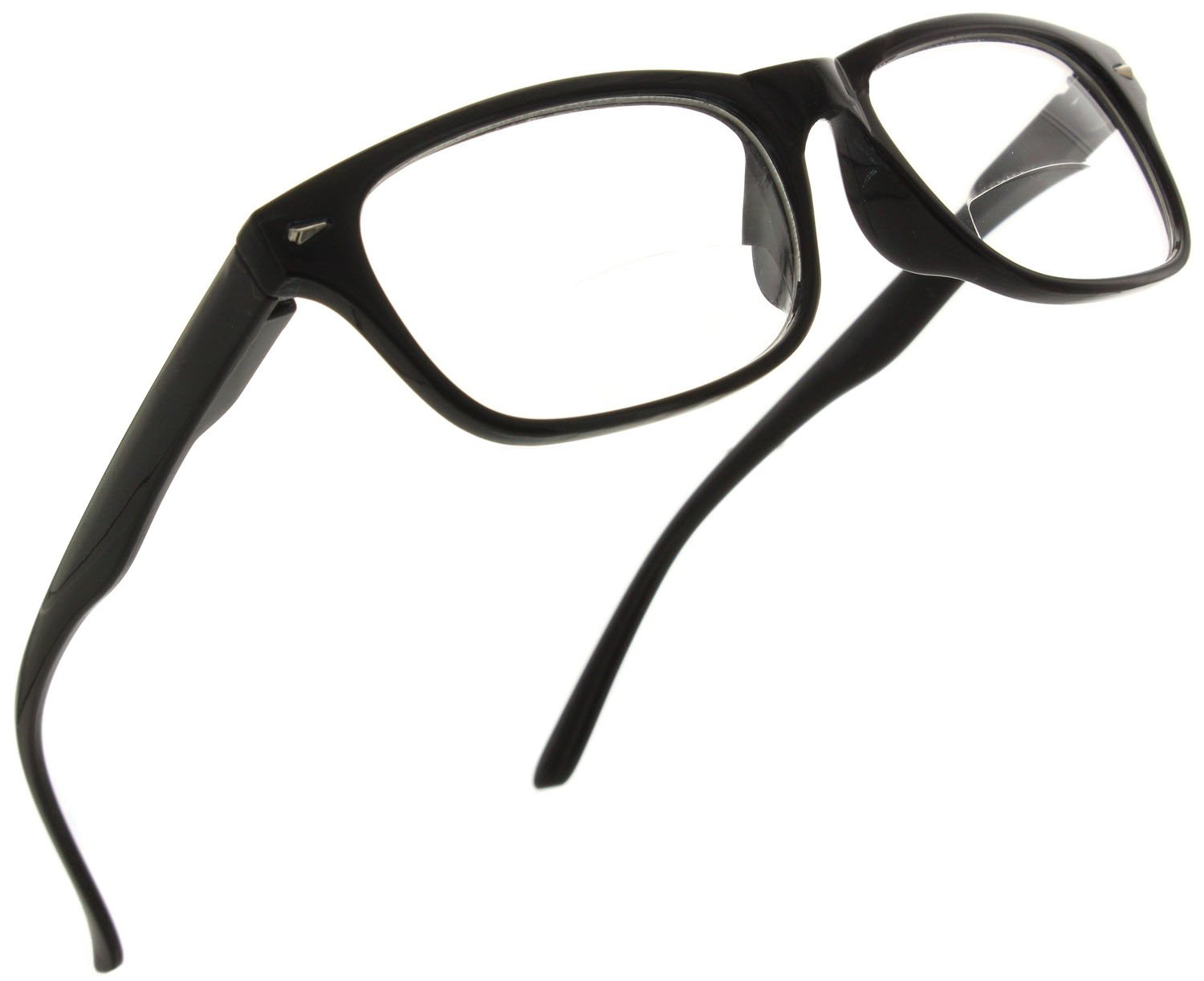 Trendy Bifocal Reading Glasses Readers with Spring Hinges for Men and Women [Black, 1.50]