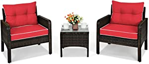 HAPPYGRILL 3PCS Patio Furniture Set Outdoor Rattan Wicker Coffee Table & Chairs Set with Seat Cushions Patio Conversation Set for Garden Balcony Backyard Poolside