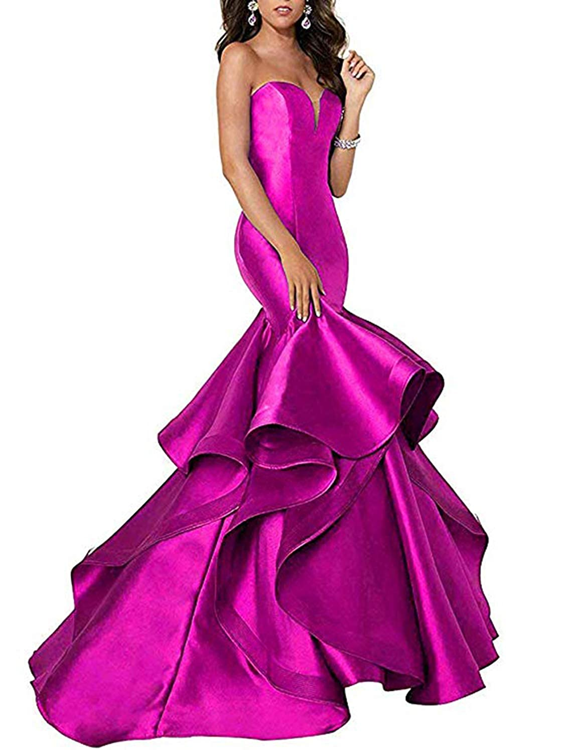 Hot Pink Scarisee Women's Sweetheart Mermaid Prom Evening Party Dresses Tiered FormalSA51