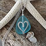 Handmade jewelry from Hawaii, wire wrapped jewelry heart sea glass necklace, sterling silver chain, Hawaiian Gift, FREE gift wrap, FREE gift message, Valentine's Day