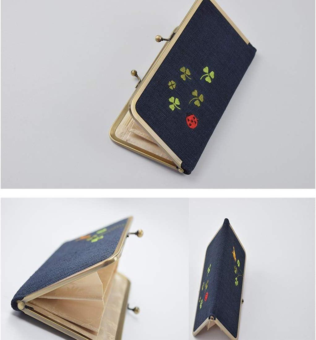 Ylf367z Clutch, Double-layer Ramie Ladies tessuto ricamo Beetle Long Money Bag Card pacchetto Tote Bag rettangolo (Color : 03) 03