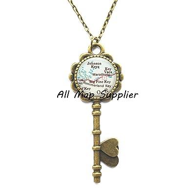 Marathon Florida Map.Amazon Com Charming Key Necklace Florida Keys Map Key Pendant