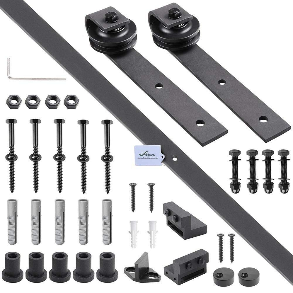Miklan 6.6 FT Sliding Barn Wood Door Hardware Track System Closet Set,Carbon Steel,for Opening: Up to 40'', Door Weight: Up to 200lbs, Door Thickness: from 1 3/8'' to 1 4/5'' (35-40mm/40-45mm)