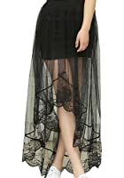 Shawhuaa Womens Boho Chiffon Lace High Low Asymmetrical Long Maxi Skirt