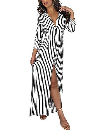 310f03c83cc Subtle Flavor Women s Casual Lapel Button Down Striped Roll up Sleeve Long  Maxi Shirt Dress Black