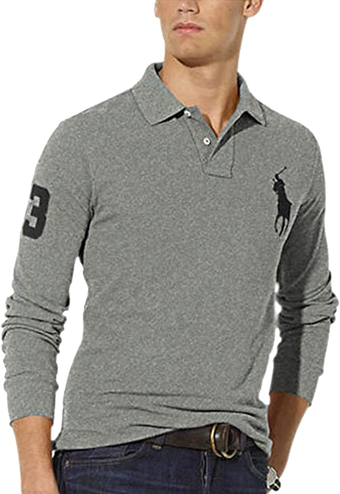 Ralph Lauren Polo de Manga Larga Big Pony Custom Fit (S, Grey ...