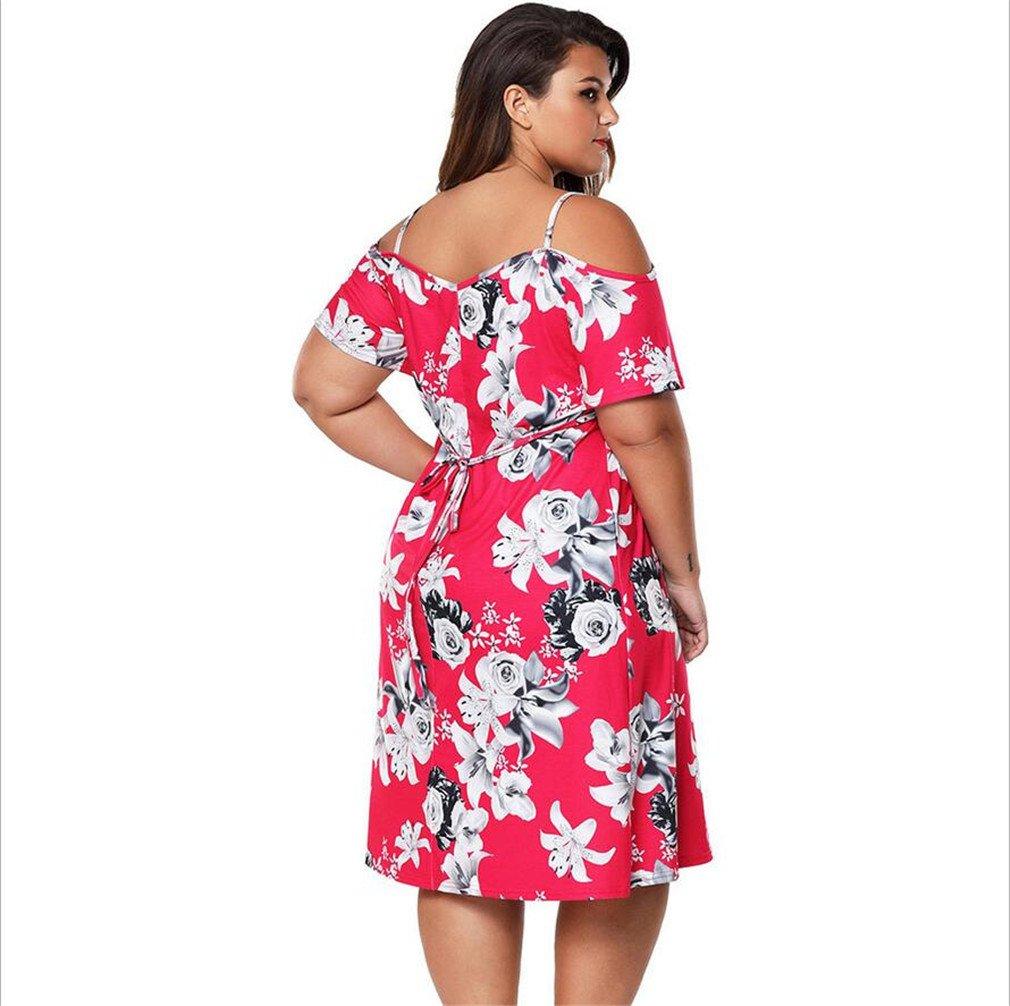 LUCKY-U Vestido De Talla Grande De Mujer, Vestido Impreso Flor Vestido Maxi XXXL Vestido De Novia De Hombro Hombro Vestidos: Amazon.es: Deportes y aire ...