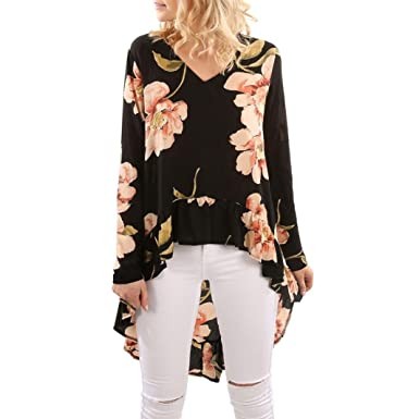 0b48228a510 Kangma Women Summer Floral Print Long Sleeve Casual Ruffles Irregular Tops  Shirt Blouse Black