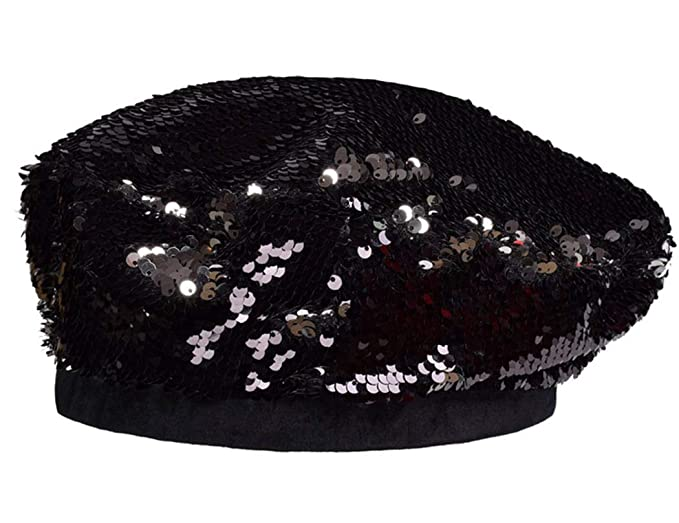 064e4f0ee8d21 UTALY Women Sequins Stretch Beret Sparkly Beanie-Hat Black at Amazon ...
