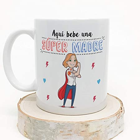 MUGFFINS Tazas Mama para Madres – AQUÍ Bebe UNA Super Madre – Taza ...