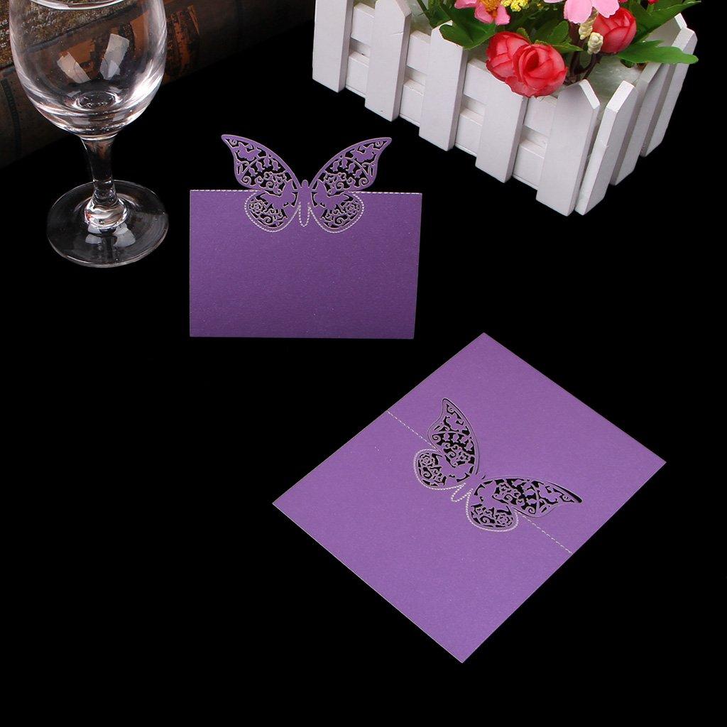 Kofun Shizuhatagayama Papillon Cut Marque Place Numéro de nom de la Carte Fête de Mariage Bal Décoration (50Pièces/Lot) de Carte–Blanc, Papier, Rose, 12x9 cm/4.72x3.54