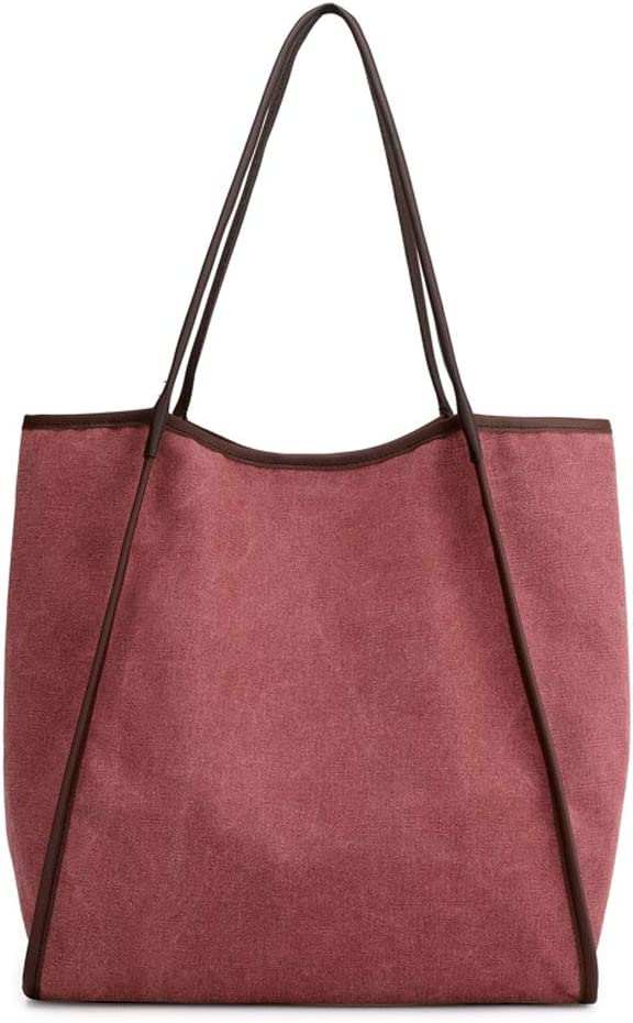 Color : Purple, Size : Free Size MAODATOU Womens Canvas Shoulder Bag Womens Large Canvas Multiple-Pockets Shoulder Hobo Bags Tote Purse Can Hold A4 Magazine for Travel Weekender Daily Use
