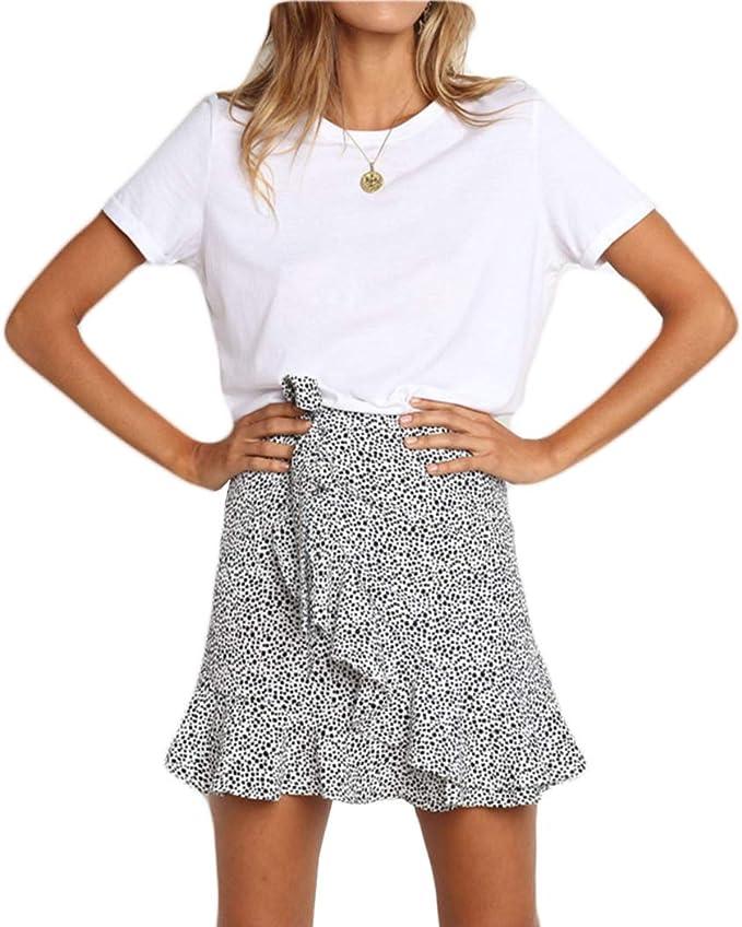 Raylans Mini Falda asimétrica con Estampado de Leopardo para ...