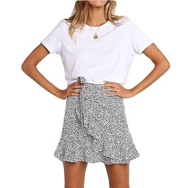 Raylans Mini Falda asimétrica con Estampado de Leopardo para Mujer ...