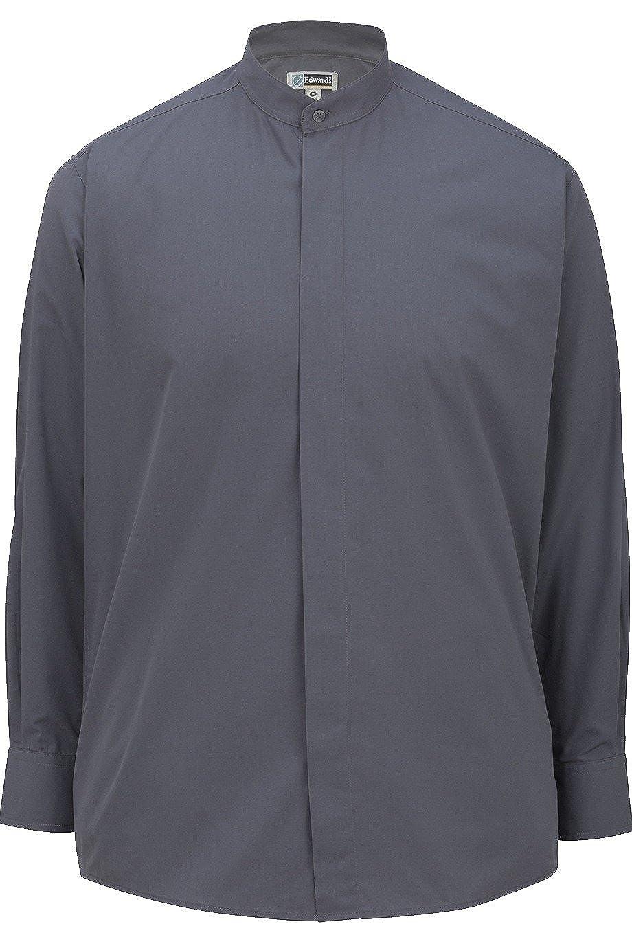 Elliesox Mens Banded Collar Long Sleeve Shirt by Edwards 1396