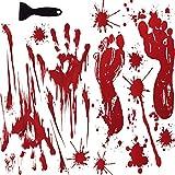JINRUIXIN Halloween Decoration Sticker (40 PCS) Horror Bloody Handprints and Footprints Stickers Halloween Decor Vampire Zombie Party Decals with One Plastic Scraper for Wall Window Bathroom Floor