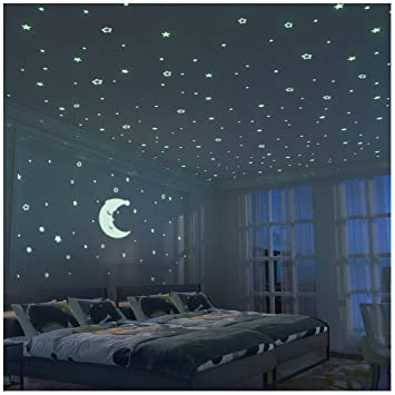 Vernici Fluorescenti Per Pareti.Fretod Stelle Fluorescenti E Grande Luna 24cm 300 Pezzi Adesivi