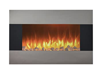 Stainless Steel Electric Fireplace with Wall Mount and Floor Stand ...