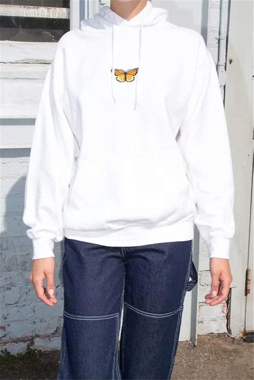 Sudadera con Capucha Suelta para Mujer Sudadera con Estampado de Mariposa Bordada de Manga Larga Talla Grande de Oto/ño