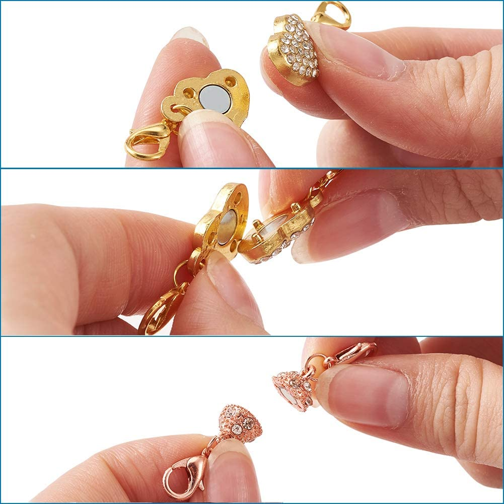 Kissitty 20 Sets Antique Bronze Magnetic Clasps 0.7x0.4 Oval Clever Clasps Connectors with Closed Jump Rings for Bracelet Necklace Making