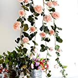 US-PopTrading Artificial Rose Vine Silk Garland Fake Rose Flowers Green Leaves Vine for Home Hotel Office Wedding Party Garden Craft Art Decor
