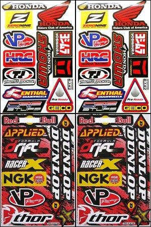 4x Honda Dirt Bike ATV Helmet Racing Decal Sticker Sheets #HD402-R