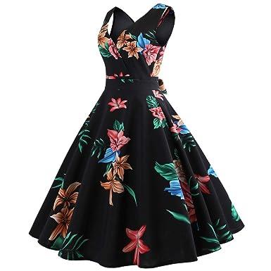 82d69121f524 HIKO23 Vintage Tea Dress 1950 s Floral Print Sleeveless Garden Retro Swing  Prom Party Cocktail Wrap Dress