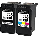 Valuetoner Remanufactured Ink Cartridge Replacement for Canon PG-245XL 245 XL CL-246XL 246 XL(1 Black, 1 Tri-Color) with Canon Pixma iP2820 MG2420 MG2520 MG2522 MG2920 MG2922 MG3022 MG3029 MX490 MX492