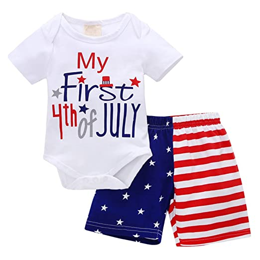 1490c8b42 My First 4th of July Newborn Baby Boy Outfits American Flag Summer Romper  Pants Independence Day