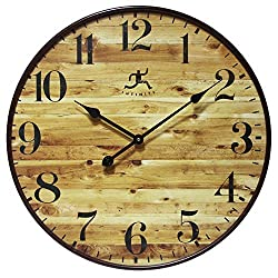 24 Inch Large Natural Wood-Style Wall Clock, Eaglewood by Infinity Instruments