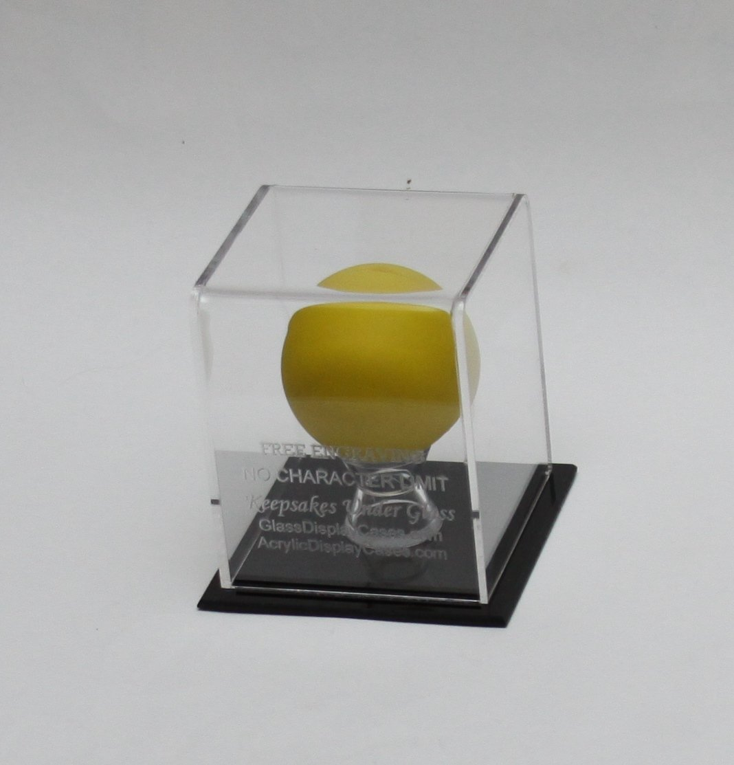 Lacrosse Ball Personalized Laser Etched - Engraved Acrylic Display Case - Custom Stand